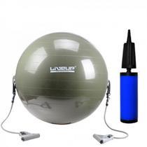 Bola Suica para Pilates 65cm com Extensores + Mini Bomba para Inflar  liveup -