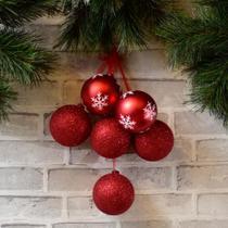 Bolas de Natal Vermelha 6 Peças - Etna