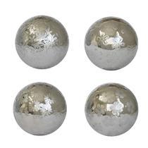 Bolas Decorativas De Porcelana Pratas 10 Cm Kit com 4 - Genuinos