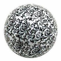 Bolas Decorativas em Cerâmica Branca com Preto - Decorafast