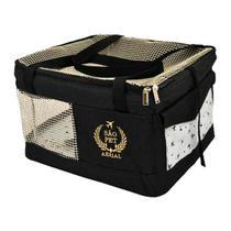 Bolsa Aerial São Pet Preta para Transporte de Cães e Gatos em Avião 36cm x 40cm x 24cm -