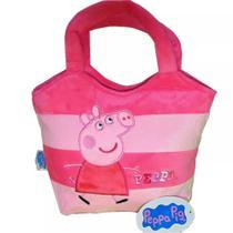 Bolsa Aveludada Peppa Pig Rosa Dois Tons - Drina