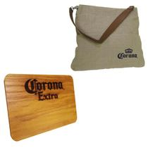 Bolsa Corona Bag 2 Bolsos Externos + Tábua de Madeira Corona Extra 24,5 x 17,5 cm - Ambev