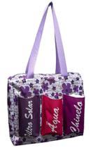 Bolsa de glitter com três bolsos Flor lilás com fundo branco - Comfortmagia