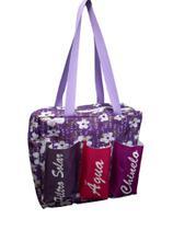 Bolsa de glitter  Flor branca com fundo lilás com três bolsos - Comfortmagia