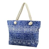 Bolsa de praia em lona com alça em corda azul Jacki Design -
