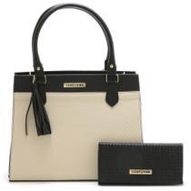 Bolsa Feminina Bicolor Com Carteira Santorini Handbag Tricê Preto/Creme -