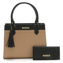 Bolsa Feminina Bicolor Com Carteira Santorini Handbag Tricê Preto/Nude -