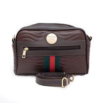 Bolsa feminina couro fino transversal pequena estilo pochete com ziper -