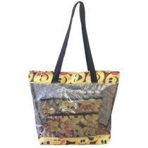 Bolsa feminina de praia e piscina grande transparente emoticons  Amarela - Meu tio que fez