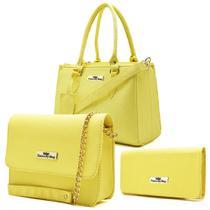 Bolsa Feminina Kit Com 3 Bolsas Ombro Pequena Baú Carteira-FrancaByShop-Amarelo - Franca By Shop
