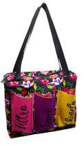Bolsa floral com fundo preto com três bolsos - Comfortmagia
