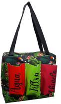 Bolsa Florida verde com fundo preto com três bolsos - Comfortmagia