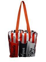 Bolsa listas vermelhas com três bolsos - Comfortmagia