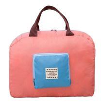 Bolsa mala organizadora com alça e zíper sacola dobrável para viagem academia salmão kangur -