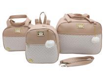 Bolsa maternidade 3 pecas mochila luxo nude - Let Baby Bolsas De Maternidade