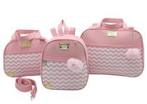 Bolsa maternidade 3 pecas mochila luxo rosa - Let Baby Bolsas De Maternidade