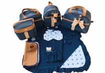 Bolsa Maternidade 5 Peças Completo Frasqueira Térmica Azul Marinho  Com Saída Maternidade - Elyã Baby