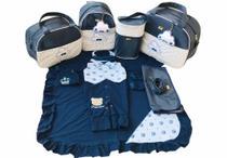 Bolsa Maternidade 5 Peças Completo Nuvem Chuva de Benção Com Saída Maternidade Térmica Azul Marinho - Elyã Baby