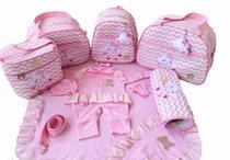 Bolsa Maternidade 5 Peças Completo Nuvem Chuva de Benção Térmica Rosa Bebê Com Saída Maternidade - Elyã Baby
