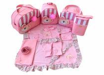 Bolsa Maternidade 5 Peças Completo Ursa Orelhinha Listrado Térmica Rosa Bebê - Elyã Baby