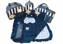 Bolsa Maternidade 5 Peças Completo  Urso Orelhinha Listrado Térmica Azul Marinho - Elyã Baby