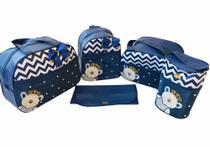 Bolsa Maternidade 5 Peças Completo Urso Príncipe Térmica Luxo Azul Marinho - Elyã Baby