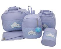 Bolsa maternidade 5 peças nuvem azul - LET BABY BOLSAS DE MATERNIDADE