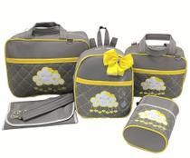Bolsa maternidade 5 peças nuvem cinza c/ amarelo - LET BABY BOLSAS DE MATERNIDADE