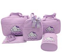 Bolsa maternidade 5 peças nuvem lilas - Let Baby Bolsas De Maternidade