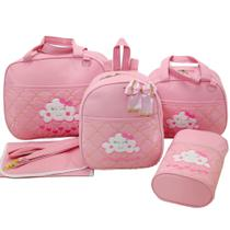 Bolsa maternidade 5 peças nuvem rosa - Let Baby Bolsas De Maternidade