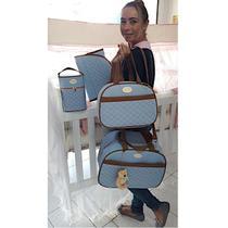 Bolsa Maternidade Azul Bebê Caramelo Saída Mala KB - Kadu Baby