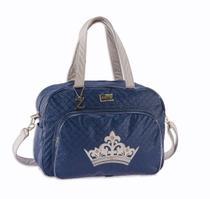 Bolsa Maternidade Bebê Menino Coroa Alteza Azul Marinho G - Sônia enxovais