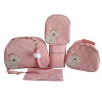 Bolsa Maternidade c/ Mochila Rosa Bebe Bordada 5P Ello Baby -