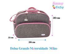 Bolsa Maternidade Grande Milão Cinza/Rosa - Lilian Baby