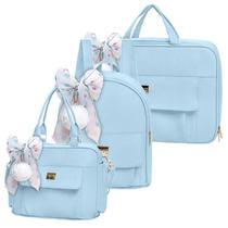 Bolsa Maternidade Kit 3 Peças com Mochila Requinte Azul - Hug -
