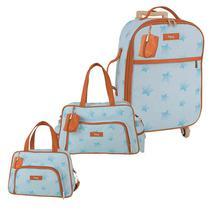 Bolsa Maternidade Kit 3 Peças Mala com Rodinha Céu Estrelado Azul - Hug -