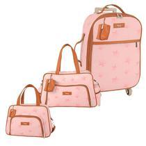 Bolsa Maternidade Kit 3 Peças Mala com Rodinha Céu Estrelado Rosa - Hug -