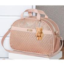 Bolsa Maternidade Menina Luxo Rosê com Chaveiro G - Sônia enxovais