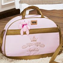 Bolsa Maternidade Personalizada Realeza Rosa Com Dourado G - Talismã