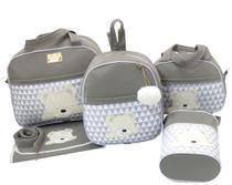 Bolsa maternidade urso s cinza 5 peças - Let Baby Bolsas De Maternidade