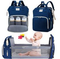 Bolsa Mochila Maternidade Impermeável com berço dobrável e trocador de fraldas Grande Azul Marinho - Living Traveling
