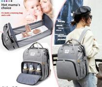 Bolsa Mochila Maternidade Impermeável com berço dobrável e trocador de fraldas Grande Cinza - Living Traveling