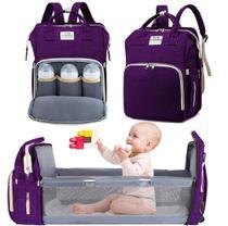 Bolsa Mochila Maternidade Impermeável com berço dobrável e trocador de fraldas Grande Fucsia - Living Traveling