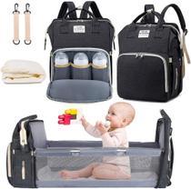 Bolsa Mochila Maternidade Impermeável com berço dobrável e trocador de fraldas Grande Preta - Living Traveling