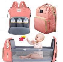 Bolsa Mochila Maternidade Impermeável com berço dobrável e trocador de fraldas Grande Rosa - Living Traveling