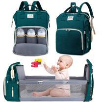 Bolsa Mochila Maternidade Impermeável com berço dobrável e trocador de fraldas Grande Verde Escuro - Living Traveling
