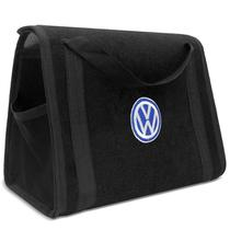 Bolsa Organizadora Porta Malas Preta Impermeável Acabamento Externo Carpete com Velcro + Logo VW - Zp