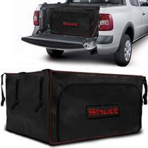 Bolsa Para Caçamba Pick-Up Horizontal Universal 407 Litros Shutt Lona Preta Com Detalhes Vermelho -