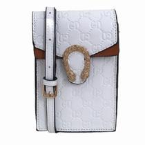 bolsa pequena tipo carteira couro pu branca com monogramas - Mini Moda